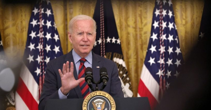 President Joe Biden speaks during an event in the East Room of the White House this week in Washington, D.C.