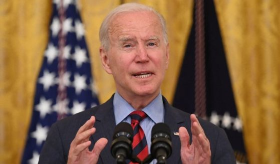 President Joe Biden speaks in the East Room of the White House in Washington on Tuesday.