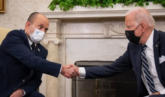 President Joe Biden meets with Israeli Prime Minister Naftali Bennett in the Oval Office at the White House on Friday in Washington, D.C.
