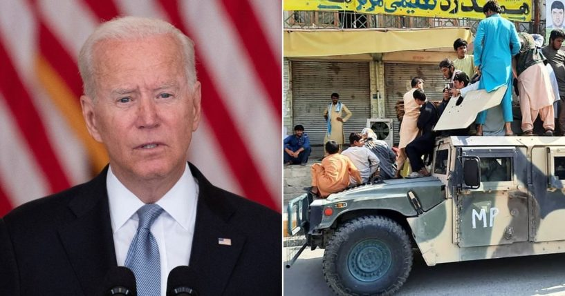 At left, President Joe Biden speaks about the Taliban's takeover of Afghanistan from the East Room of the White House on Monday in Washington, D.C. At right, Taliban fighters and local residents sit on an Afghan National Army Humvee vehicle along the roadside in Laghman province on Sunday.