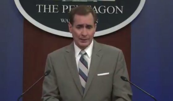 Pentagon spokesperson John Kirby responds to a question from Fox News' Jennifer Griffin during a news briefing on Friday.