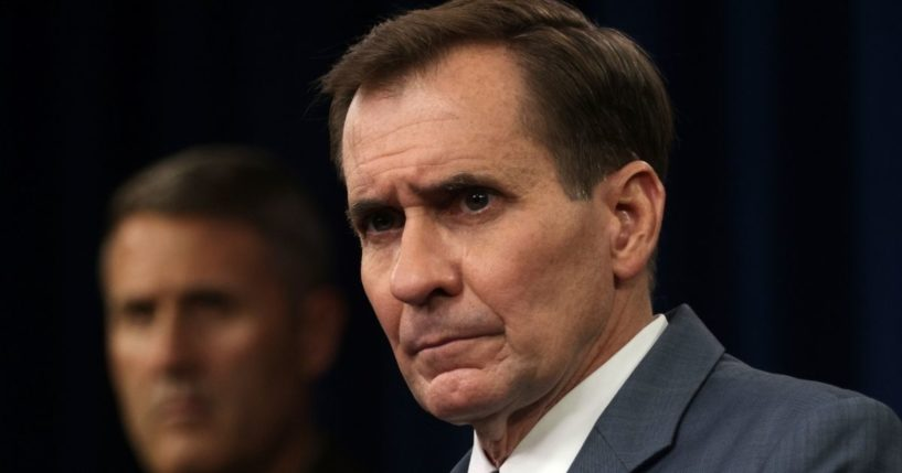 Pentagon spokesperson John Kirby speaks during a news briefing at the Pentagon on Aug. 17, 2021, in Arlington, Virginia.