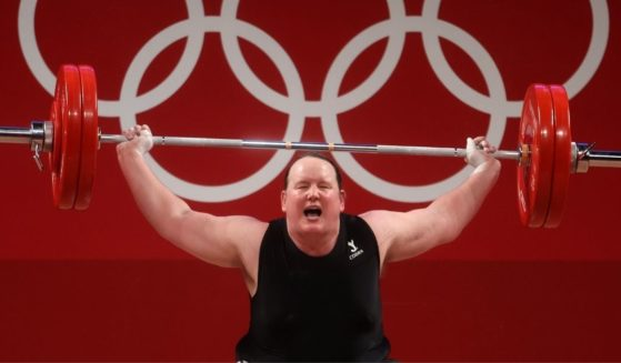 Laurel Hubbard of New Zealand competes in women's weightlifting during the Summer Olympics at the Tokyo International Forum on Monday.
