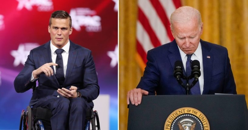 Rep. Madison Cawthorn addresses the Conservative Political Action Conference on Feb. 26, 2021, in Orlando. President Joe Biden pauses while he speaks about the situation in Afghanistan in the East Room of the White House on Thursday in Washington, D.C.