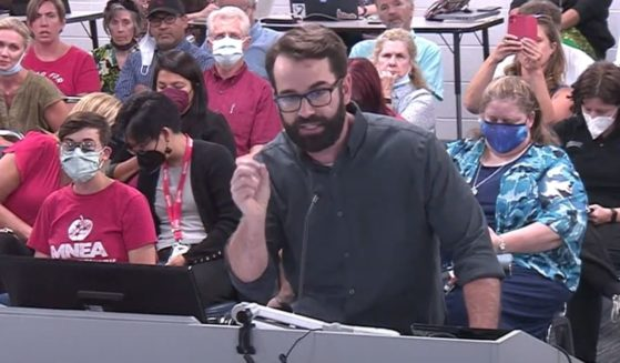 The Daily Wire's Matt Walsh speaks out against school mask mandates during a school board meeting in Nashville, Tennessee.
