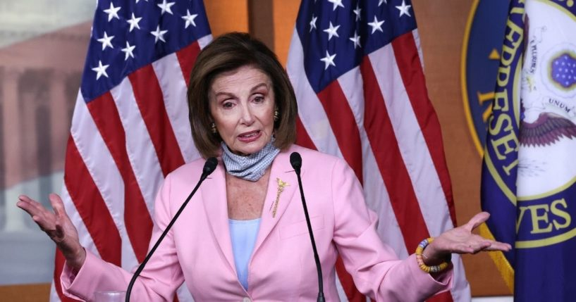 Speaker of the House Nancy Pelosi holds her weekly news conference at the U.S. Capitol on Wednesday in Washington, D.C.