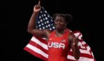 Tamyra Marianna Stock Mensah of Team United States celebrates defeating Blessing Oborududu of Team Nigeria during the Women's Freestyle 68kg Gold Medal Match on day 11 of the Tokyo 2020 Olympic Games at Makuhari Messe Hall on Tuesday in Chiba, Japan.