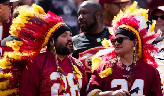 Washington Redskins fans cheer during a game against the Philadelphia Eagles at FedEx Field in Landover, Maryland, on Sept. 10, 2017.