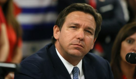 Florida Gov. Ron DeSantis takes part in a roundtable discussion about the protests in Cuba at the American Museum of the Cuba Diaspora on July 13, 2021, in Miami.
