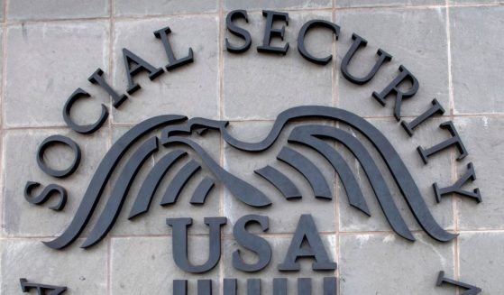 The logo of the U.S. Social Security Administration is seen outside a Social Security building on Nov. 5, 2020, in Burbank, California.