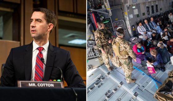 Republican Sen. Tom Cotton of Arkansas, left, is being praised for his efforts in getting people through the Kabul airport in Afghanistan.
