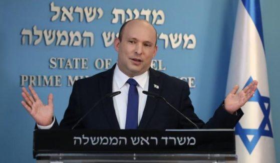 Israeli Prime Minister Naftali Bennett speaks at a news conference in Jerusalem on Wednesday.