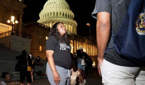 U.S. Rep. Cori Bush, a Democrat from Missouri, speaks with supporters outside the U.S. Capitol on July 31, 2021. Bush is calling for an extension of the federal eviction moratorium.
