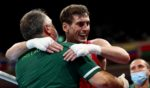 Aidan Walsh of Team Ireland celebrates after beating Merven Clair of Team Mauritius at the Tokyo 2020 Olympic Games.