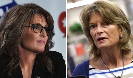 Former Alaska Gov. Sarah Palin, left; Republican Sen. Lisa Murkowski, right.
