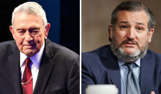 Former CBS News anchor Dan Rather, left; and Sen. Ted Cruz, right.