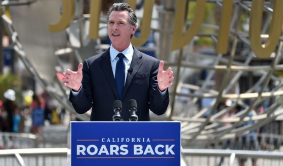 California Gov. Gavin Newsom holds a press conference at Universal Studios Hollywood on June 15, 2021, for the official reopening of the state.