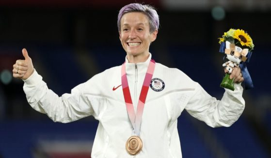 Megan Rapinoe of Team USA reacts after receiving the bronze medal after Canada beat Sweden in the gold-medal match in the Tokyo Olympics on Aug. 6, 2021.