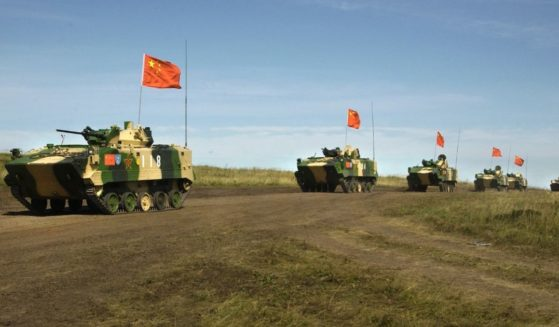 Chinese armored personnel carriers prepare for joint exercises with the Russian military in an image taken in 2007.