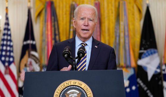 President Joe Biden speaks in the East Room of the White House on July 8, 2021, regarding American troop withdrawal from Afghanistan.