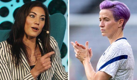 Former U.S. Women's National Soccer team goalie Hope Solo, left; and USNWTcaptain and political activist Megan Rapinoe, right.