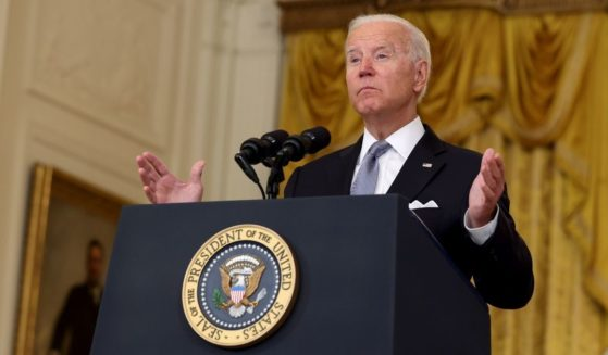 President Joe Biden speaks Monday at the White House about the fall of Afghanistan to the Taliban on Sunday.