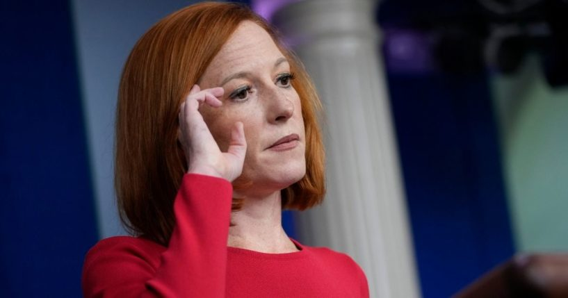 White House press secretary Jen Psaki speaks during the daily news briefing Wednesday at the White House.