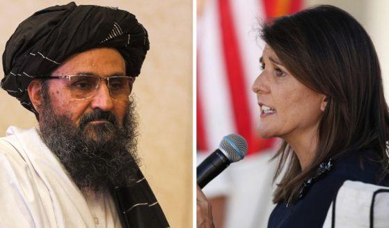 Taliban negotator Mullah Abdul Ghani Baradar, left; and former U.N. Ambassador Niki Haley, right.