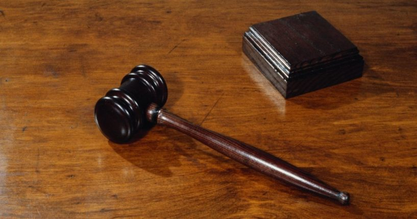 A gavel lies next to a sound block in this stock photo.