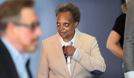 Chicago Mayor Lori Lightfoot is seen attending a Pride Month event at the Center on Halstead in Chicago on June 7, 2021.