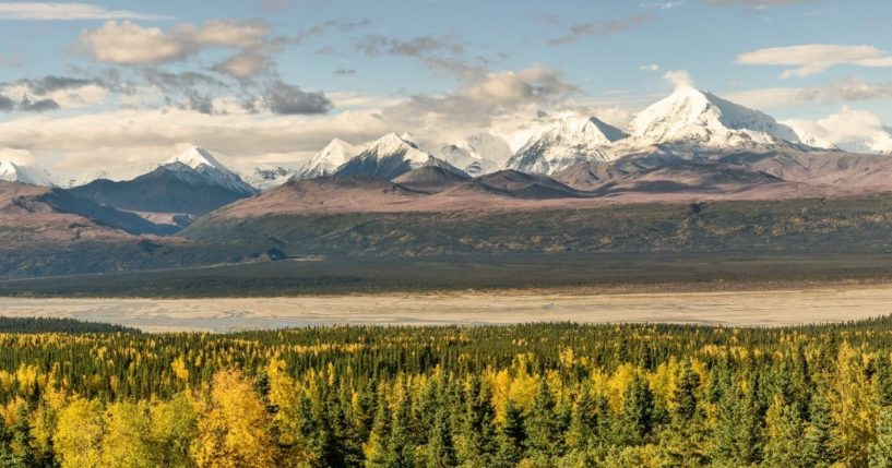 This stock image shows a panoramic view of the Alaskan wilderness. The North Slope oil project in Alaska was struck down by a judge this week, due to its potential impact on polar bears in the region.