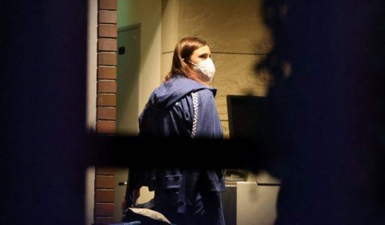 Krystsina Tsimanouskaya is seen at the Polish embassy in Tokyo in a photo taken on Monday.