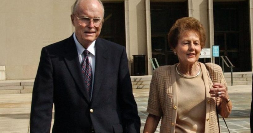 John Hinckley's parents are seen walking outside the courthouse in Washington in this Sept. 2, 2003 file photo.
