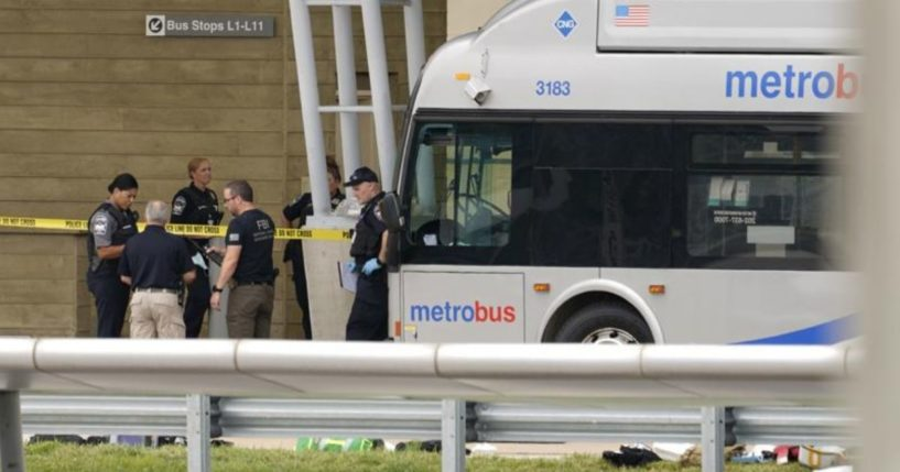 Police are seen standing outside the Pentagon building in Arlington, Virginia, in a photo taken on Tuesday.