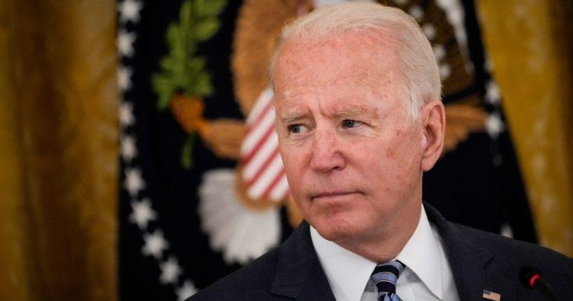 President Joe Biden speaks in the East Room of the White House on Wednesday.