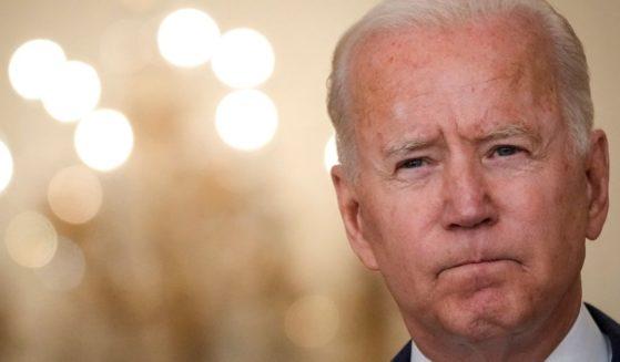 President Joe Biden is seen speaking from the East Room of the White House on Thursday.