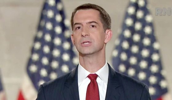 In this screenshot from the RNC's livestream of the 2020 Republican National Convention, Sen. Tom Cotton addresses the virtual convention on Aug. 27, 2020.