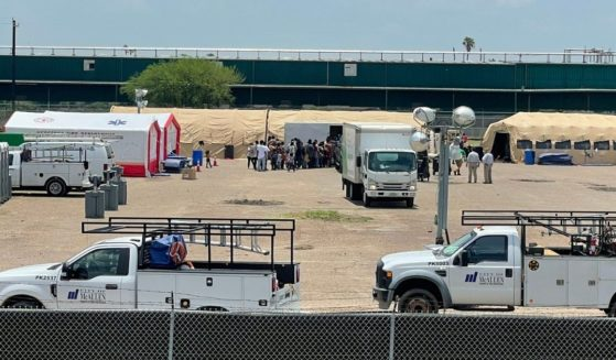 Tent city being constructed to house Covid-infected migrants near McAllen, Texas, on Aug. 5.