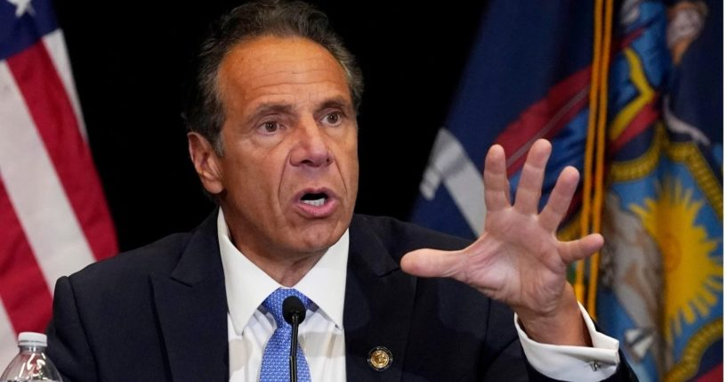 New York Gov. Andrew Cuomo is seen speaking at Yankee Stadium in New York City in a photo taken on July, 26, 2021.