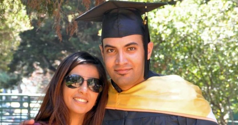 Abdulrahman al-Sadhan is seen with his sister at Notre Dame de Namur University in Belmont, California, on May, 4, 2013.