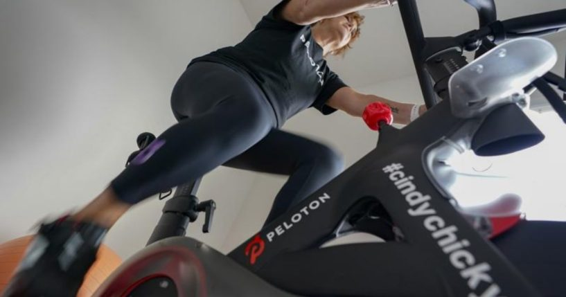 Peloton user Cindy Cicchinelli is seen exercising at her home in Pittsburgh, Pennsylvania, in a photo taken on Sunday.
