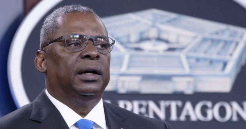 Defense Secretary Lloyd Austin is seen speaking at a media briefing at the Pentagon in Washington in a photo taken on July 21, 2021.