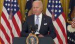 President Joe Biden addresses the media Thursday in the East Room of the White House.