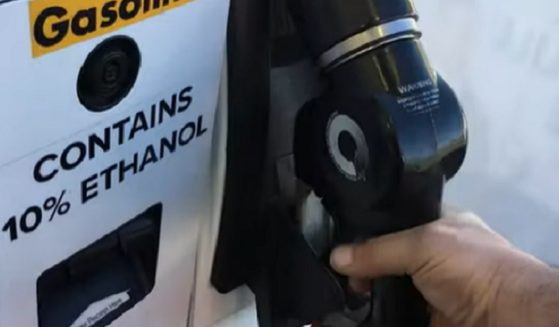A hand hold a nozzle at a gas pump.