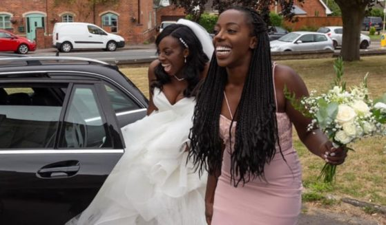 Bride Shenice Beirne is seen after hitchhiking to her wedding on Aug. 7.