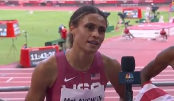 Olympic gold medalist Sydney McLaughlin proclaims her faith in a post-race interview in Tokyo on Thursday.