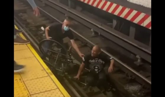 A good Samaritan helps a man who fell onto the subway tracks at Union Station in New York City.