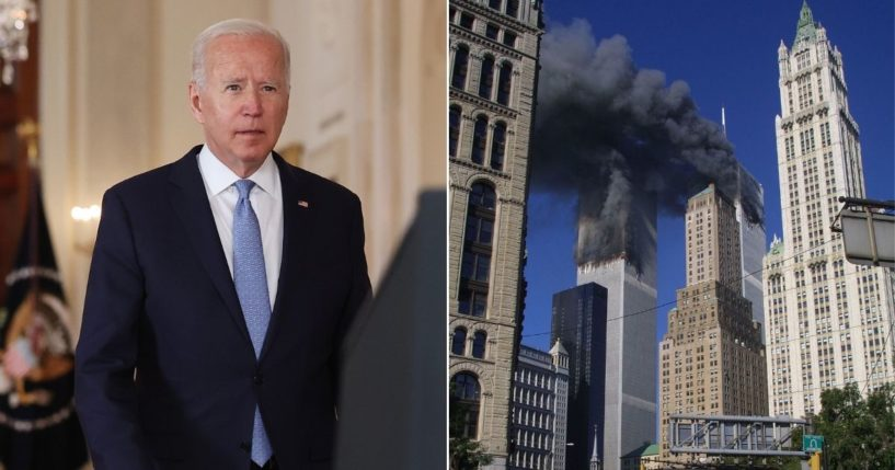 President Joe Biden, left, signed an executive order Friday calling for the declassification of critical 9/11 documents.