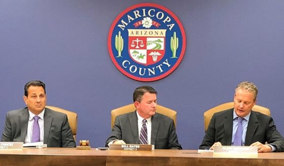 In this Oct. 23, 2019, file photo, the Maricopa County Board of Supervisors meets in Phoenix. Steve Chucri, second from left, a Republican official in Arizona resigned Tuesday from the board overseeing Maricopa County after a recording emerged of him criticizing his GOP colleagues for opposing a review of the 2020 election.