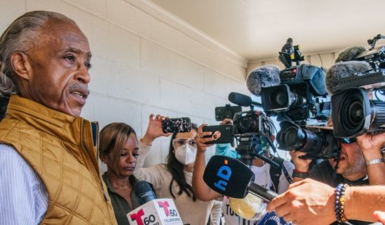 Civil rights leader the Rev. Al Sharpton speaks at a news conference on Thursday in Del Rio, Texas.
